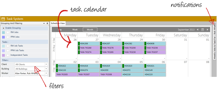 CAFM Facilities Management Software Task Calendar